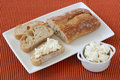Bread with cream cheese Stock Photos