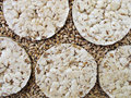 Bread crisps and grains of wheat Royalty Free Stock Photo