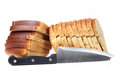 Bread cuts and kitchen knife Stock Photography