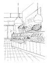 Bread department hand drawn black and white illustration, store interior