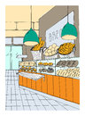 Bread department hand drawn colorful illustration, store interior.