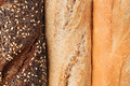 Bread of different varieties view from above. Rye, wheat and whole grain bread. Macro. Texture. Royalty Free Stock Photo