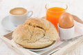 Bread with egg, coffee Stock Photos