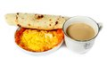 Bread egg coffee fried tea on white backgrund Stock Photo