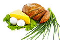 Bread, eggs, cheese, a green onions and salad Royalty Free Stock Photo