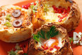Bread filled with eggs cheese and vegetables Stock Photos
