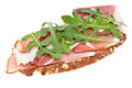 Bread with ham, Parmesan and rocket salad Stock Image