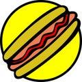 Bread hotdog ketchup sausage vector 库存照片