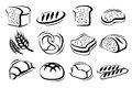 Bread icon set vector black on white Royalty Free Stock Image