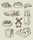 Bread icons vector hand drawn set on white Stock Image