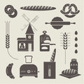Bread icons vector set of various stylized Stock Photo