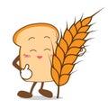 Bread isolated happy smile slice of bread cartoon and wheat illistration Stock Photo