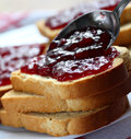 Bread and jam Stock Photo