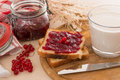 Bread with jam for breakfast and milk toasted Stock Image