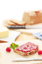 Bread with jam breakfast table a slice of fresh Royalty Free Stock Images