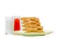 Bread with jam of milk on white studio shot Stock Image