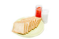 Bread with jam of milk on white studio shot Royalty Free Stock Image