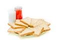 Bread with jam of milk on white studio shot Stock Photography
