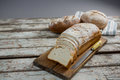 Bread loaf with knife Royalty Free Stock Photo
