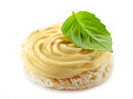 Bread with melted cream cheese and basil leaf Royalty Free Stock Photo