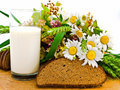 Bread milk and camomile Royalty Free Stock Photo