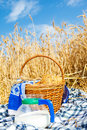 Bread and milk in a wheat field Royalty Free Stock Photo