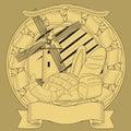Bread mill grain coat of arms. image