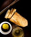 Bread with Oil and Vinegar Royalty Free Stock Photo