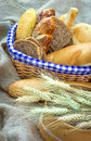 Bread and pastry in wicker basket Royalty Free Stock Images