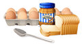 A bread with peanut butter and eggs illustration of on white background Royalty Free Stock Photography