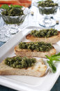 Bread with pesto Stock Image