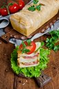 Bread pizza with sausage and cheese Royalty Free Stock Photo