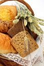 Bread products in basket Royalty Free Stock Photos
