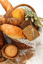 Bread products in basket Stock Images