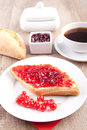Bread roll with jam picture of a Stock Images