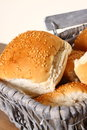 Bread rolls in basket B Stock Photos
