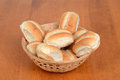 Bread rolls in a basket on wood table Royalty Free Stock Image