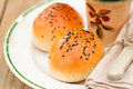 Bread rolls with black sesame seeds Royalty Free Stock Image