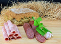 Bread,salami, ham and garlic Royalty Free Stock Photography