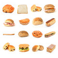 Bread and sandwiches and bakery collage Royalty Free Stock Photo