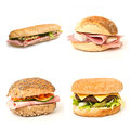 Bread and sandwiches  collage Royalty Free Stock Photo