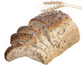 Bread with seeds and ears of wheat Royalty Free Stock Photography