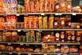Bread on the shelves variety of supermarket Royalty Free Stock Photos
