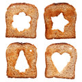Bread slices with different christmas themed holes Stock Photos