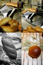 Bread specialty factory. Grid 2x2, screen split in four parts Royalty Free Stock Photo