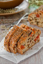 Bread with spices and vegetables Royalty Free Stock Image