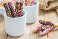 Bread sticks with chocolate and colorful sprinkles for children, Snack for kids Royalty Free Stock Photo