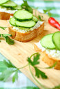 Bread toast with cheese and fresh cucumber food close up Royalty Free Stock Image