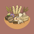 Bread and wheat products Royalty Free Stock Photo