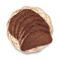 Bread in a wicker plate on white background Stock Image